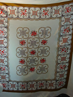 Vintage Printed Cotton Blend Tablecloth Red Tan Brown White Floral 54 X 56