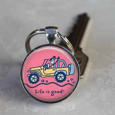 JEEP KEYCHAIN GIRL keyring PINK LIFE IS GOOD Wrangler Soft Top 4WD 4 Wheeling