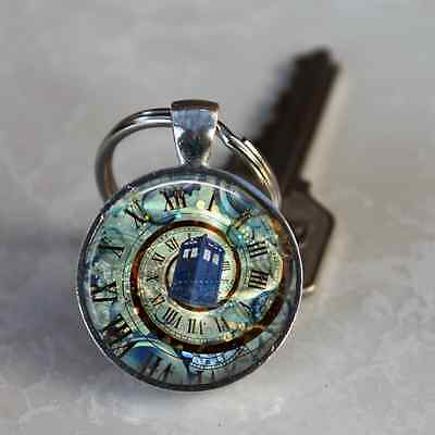 DR. WHO TARDIS Keychain STEAMPUNK SPIRAL CLOCK Stocking Stuffer TV Fan GIFT