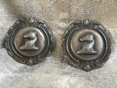 "Pair Antique Early Bridle Rosettes Horse Large 2-1/4"" Metal RARE Ornate"
