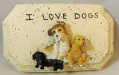 I Love Dogs Wood Sign Decor Hand Made Sign Wooden Block 3 Dog Figures