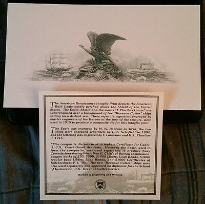BALD EAGLE BATTLESHIP BEP STEEL PLATE ENGRAVING INTAGLIO GREEN INK with COA