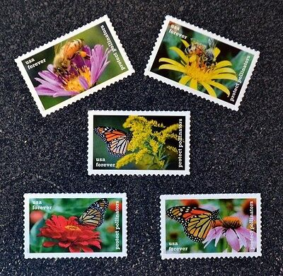 2017USA Forever - Protect Pollinators - Set of 5 Singles  Mint flowers butterfly