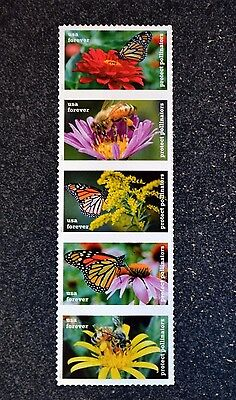 2017USA Forever - Protect Pollinators - Strip of 5 Postage Stamps  Mint flower