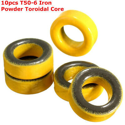 10pcs Yellow Micrometals T50-6 Iron Powder Toroidal Core RF Toroid HF HAM QRP