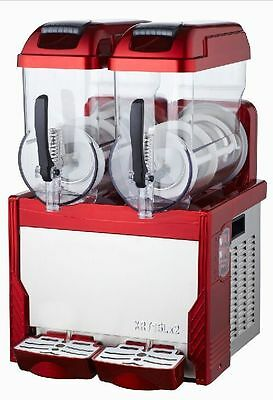 New Red Commercial 2 Tank Frozen Drink Slush Slushy Making Machine with light