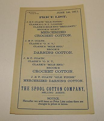 Orig 1911 Clark's J & P Coats Cotton - Company - Brooklyn Ny - Price List