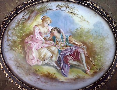 Antique French Lovers Scene Sevres Porcelain Plaque Leather Jewelry Box A. Bost