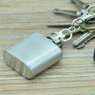 1 oz Stainless Steel Pocket Hip Flask Screw Cap Whisky Pot With Key Chain BY2