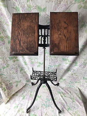 Antique Vintage Victorian Cast Iron Oak Bible Book Holder Stand Dictionary