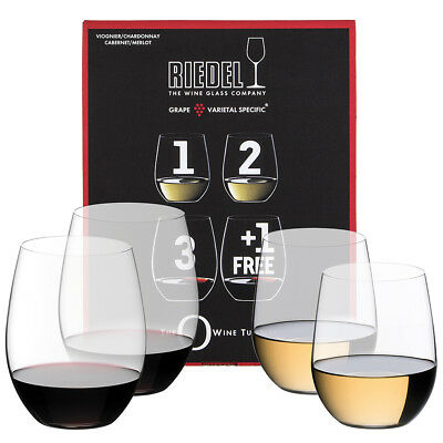 NEW Riedel O Series Chardonnay & Cabernet Pay for 3 Get 4 Pack
