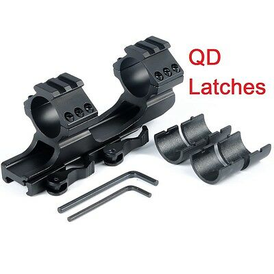 """30mm / 1"""" inch QD Dual Scope Rings Cantilever Quick Release Picatinny Mount"""