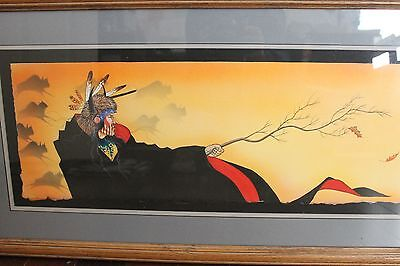 One original native American James Tsoodle Mountain Kiowa painting watercolor