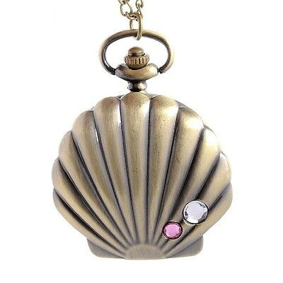 Beach Clam Shell & Crystal Bronze Tone Pendant Pocket Watch Necklace - Gift Idea