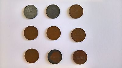 USA Lincoln One Cent coins x 9 (1973-1979-1943 x 2-1940-1936-1934-1930-1923)