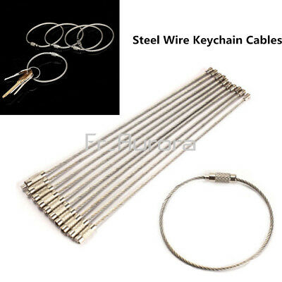 10PCS Steel Stainless EDC Aircraft Cable Chain Ring Wire Key Twist Screw Locking