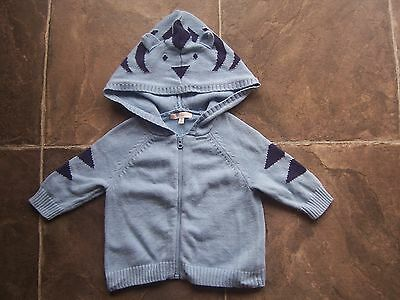 Baby Boy's Blue Cotton Knitted Hoodie/Hooded Jacket Size 00 VGUC