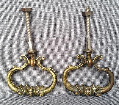 Pair of antique french draw pulls knockers lot made of bronze 19th century