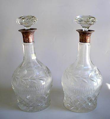 Antique Old English Heavy Crystal Decanters Pair Sterling Silver Neck Barker Bro