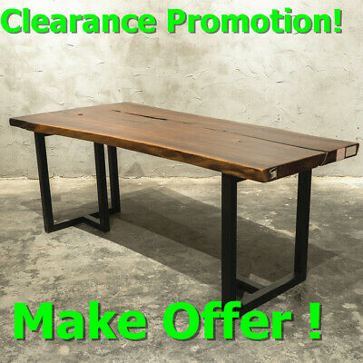 79 Rectangle Slab Long Dining Table Walnut Solid Wood