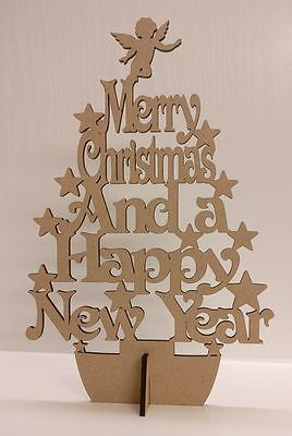 Merry Christmas and a Happy New Year tree, Wood home decoration, Craft.