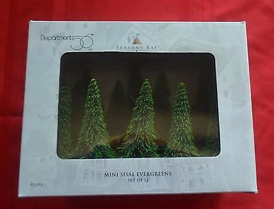 ~~ Mini Sisal Evergreens Set of 12 ~~ 52763 ~~ New in Box ~ Dept 56 Seasons Bay