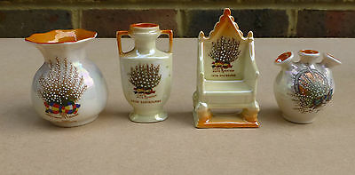4 Items of Souvenir China Lucky White Heather - Eastbourne