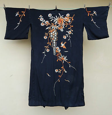 Antique Chinese Silk Hand Embroidered Robe Kimono Dress Textile #32