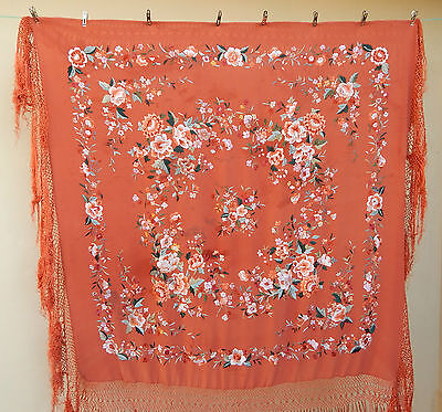 Antique Beautiful Chinese Hand Embroidered Silk Piano Shawl Multi Color Ps98