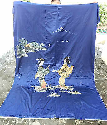 HUGE ANTIQUE BEAUTIFUL CHINESE/JAPANESE HAND EMBROIDERED TEXTILE PANEL 233X177cm