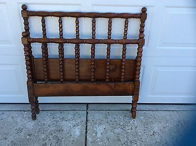 Vintage Jenny Lind solid wood twin bed frame spool spindle turned farmhouse rust