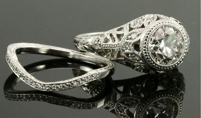 Vintage Antique Style 2 CT Signity Diamond Wedding 2pcs Bridal Ring Set All Size