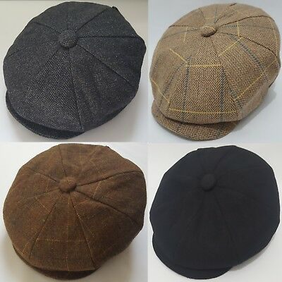 Peaky Blinders Wool Blend Bakerboy tweed  Newsboy Hat Country Gatsby Flat Cap
