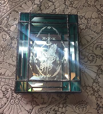 Vintage Stained Glass Box Cut Glass Carousel Horse Beveled Mirror Bottom Art