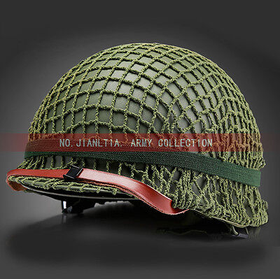 WW2 WWII US Military Green M1 Helmet Steel With Webbing Net Replica M1942