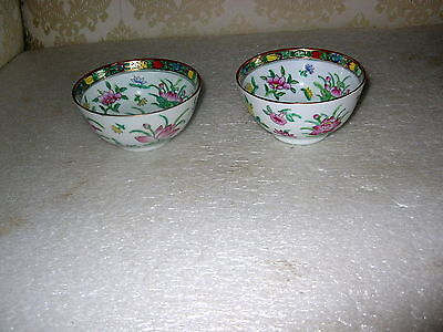 2 Famille Rose Medallion Canton Rice Bowls  Signed