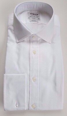 T M Lewin Luxury Reg Fit White Herringbone Shirt Cotton  15.5-17.5 Bnwot