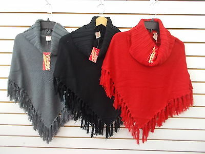 Girls Chillipop Gray, Black, or Red Knit Poncho Size 7/8 - 14/16