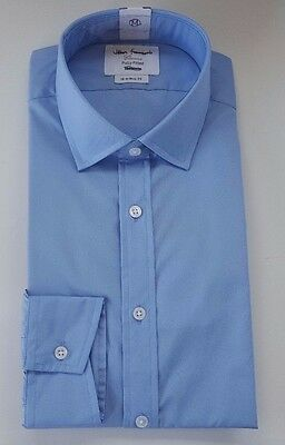 T M Lewin John Francomb Blue Fully Fitted Cotton Easy Iron Shirt  Bnwot