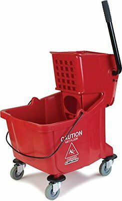 Red Mop Bucket w/ 35 Qt. Capacity Basin, Side Press Wringer, Non-Marking Casters