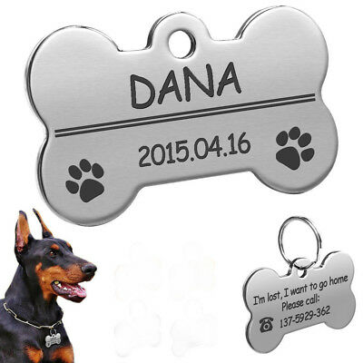 Silver Bone Dog Tags Personalized Engraved Pet Puppy Cat ID Name Collar Tag S L
