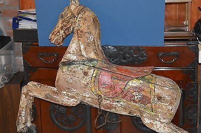 Full Size Antique 19th Century Carousel Horse Original Paint / Metalwork,c 1890