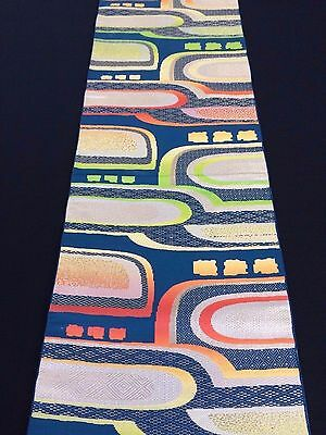 Authentic Japanese multicolour fukuro obi for kimono, Japan import (E1616)