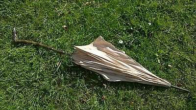 ANTIQUE VICTORIAN SILK PARASOL / UMBRELLA Cane and wood brass fittings c3