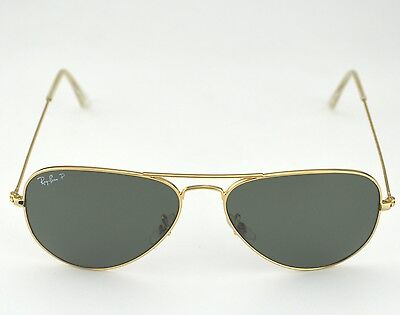 RAY BAN RB3025 Aviator Classic 001/58 Gold Frame/Polarized Green ...