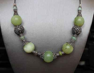 Natural Jade Nephrite Jadeite Necklace and Earrings Silver 925