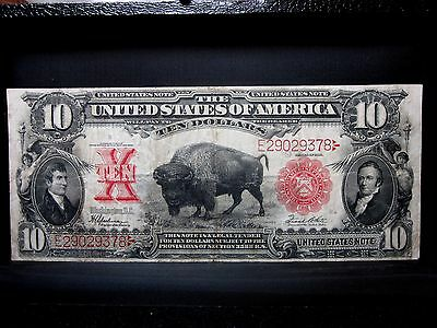 1901 $10 United States Note ✪ Vf Very Fine ✪ Legal Tender Bison Us ◢Trusted◣