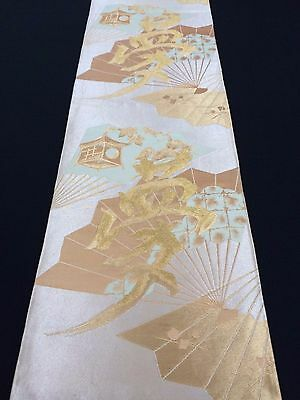 Vintage Japanese fukuro obi with yume/dream kanji, Japan import, good c. (E1617)
