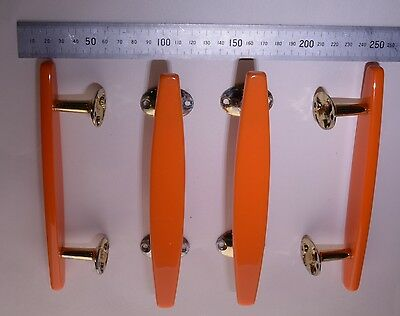 Ref 56 - Four original Wilbec Lucite Door Handles Orange and Brass Plate