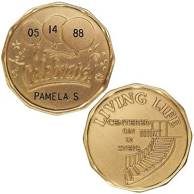 Custom Engraved (Name & Date)-Celebrate Living Life-Alcoholics Anonymous-Coin